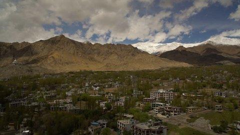 Medium high angle still shot of old Leh village town and its ancient buildings, Leh, Ladakh