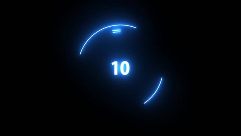 Shiny Blue Futuristic countdown 10 to 1. Loop Technology interference circle count down numbers from 10 to 1 glow ring.