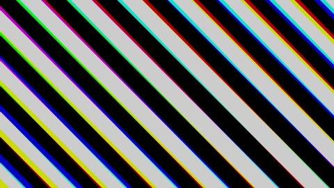 Striped black and white of diagonal. Chromatic aberration. Seamless loop.
