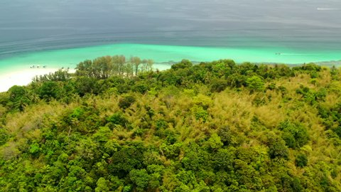 Aerial shooting. Thailand, Krabi Province, Phi Phi islands, Bamboo island. Beach. National park.