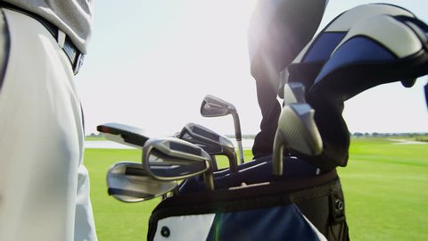 Male Caucasian Professional Golfer Sport Game Lifestyle Golf Bag Clubs