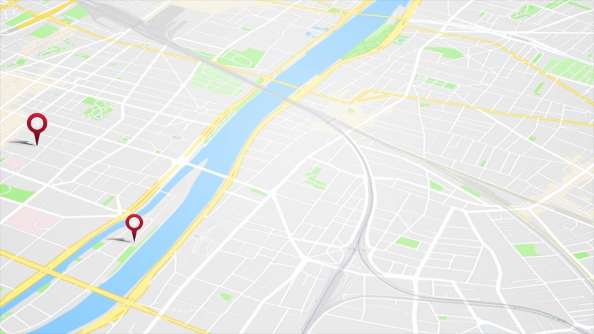 Smartphone App Map With GPS Pins Animation Loop/ 4k animation of an app screen of traveling city map background with gps pins and icons rising #1029408410