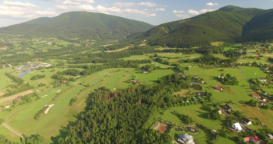 Aerial view of Golf Course in beautiful Czech Republic countryside, 4K   Shutterstock HD Video #1029578630