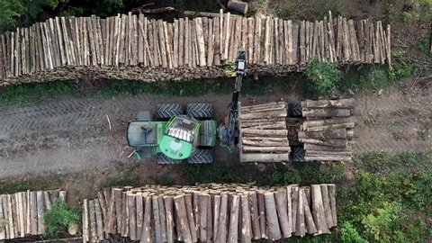 Logging Equipment offloading Wood - areal view