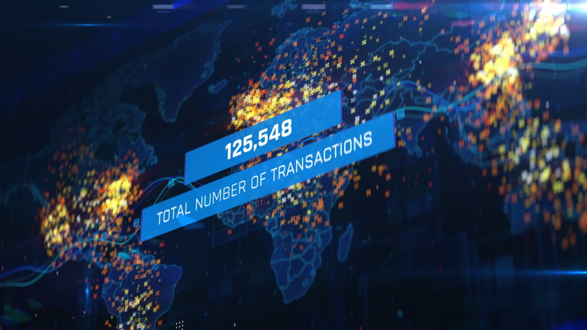 Total number of transactions around the world, financial report, budget planning. Financial infographics on screen, gross sales, forecast