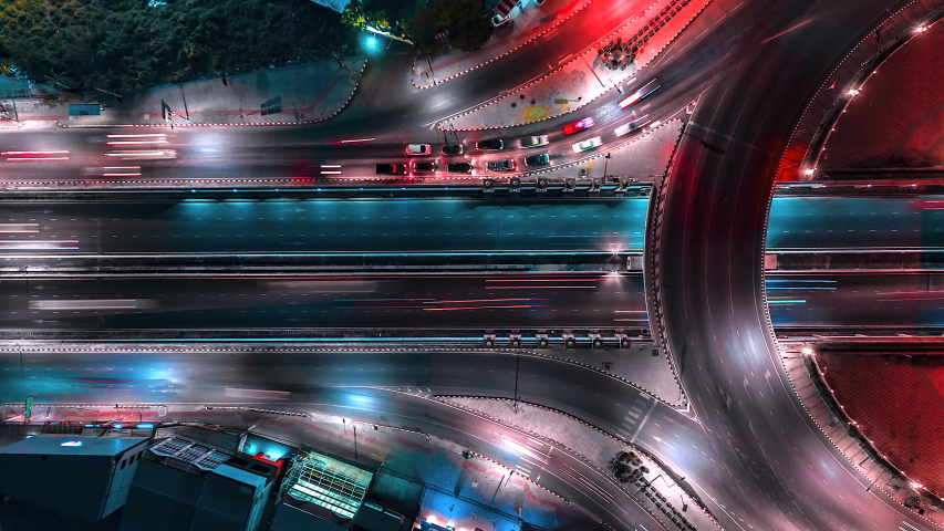 4K,Time lapse night  traffic of the road or expressway, motorway and highway in the detail of Circle intersection  | Shutterstock HD Video #1029643790