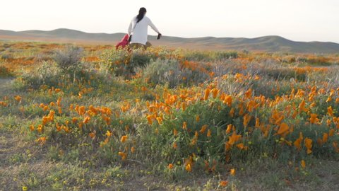 Mother and daughter walking by the poppy flower field in antelope valley lancaster california