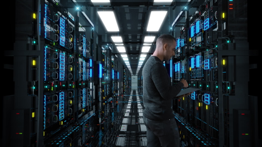 System Administrator Man With A tablet Standing In A Futuristic High Tech Server Room. Camera move forward. IT Technician 3d render concept. Crypto Currency Mining. Bitcoin farm. Prores 10 Bit mov. | Shutterstock HD Video #1029684410