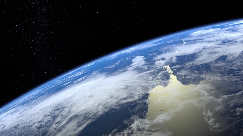 Earth. View from space. The camera rotates and flies away from the Earth. Stars twinkle. 4K. Realistic atmosphere. 3D Volumetric clouds. #1029786770