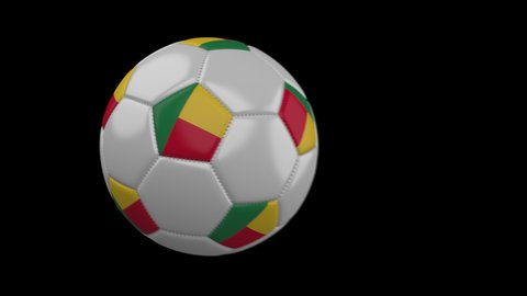 Soccer ball with flag Benin flies past camera, slow motion blur, 4k footage with alpha channel