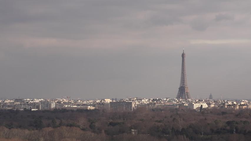 Eiffel tower wide shot Paris | Shutterstock HD Video #1029854960