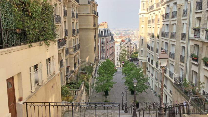 Paris, France - April 18, 2019: Walkig toward  station from Montmartre in Paris  | Shutterstock HD Video #1029864050