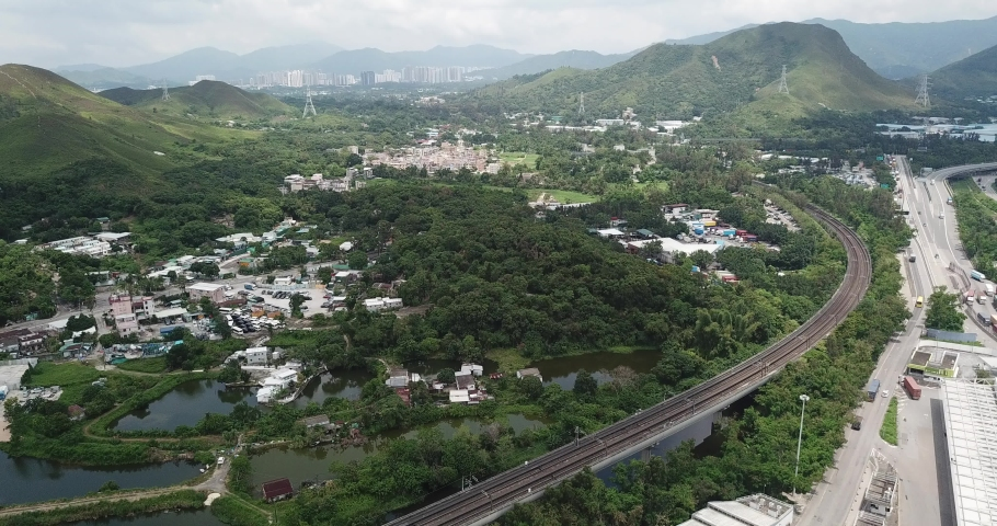 Aerial view  of village in New Territories in Hong Kong. | Shutterstock HD Video #1029937580