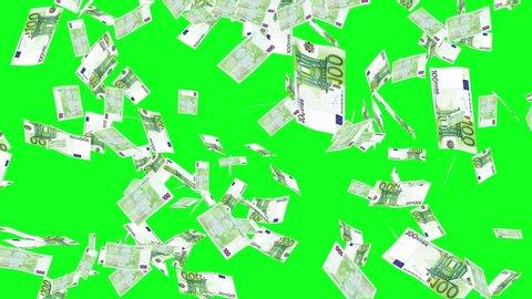 Green Screen Euros Bills Rain Effects Animation, Money Rain 4k animation in green screen, Money Euros  rain effect animation green screen, Euros  bills falling rain