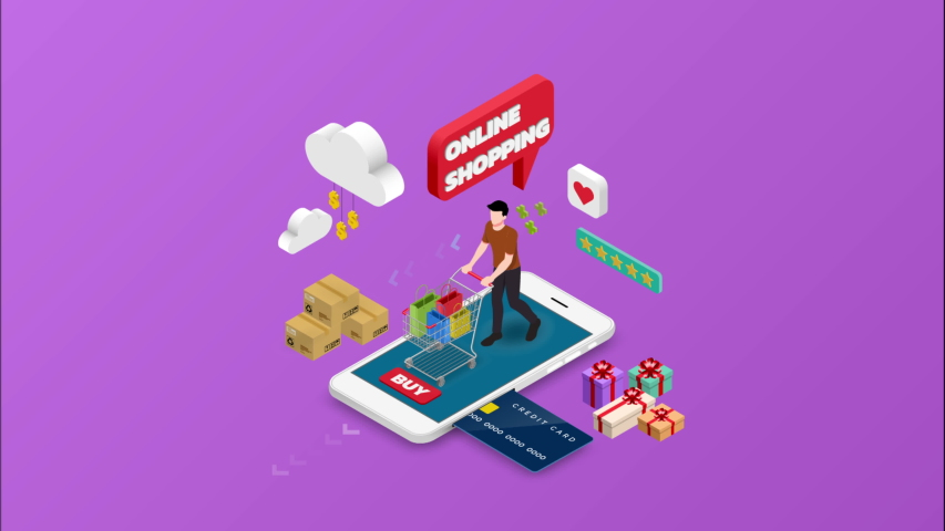 Isometric man shopping on smart phone. E-commerce online concept male person with shopping cart, technology store. 4k 60fps   Shutterstock HD Video #1030097300