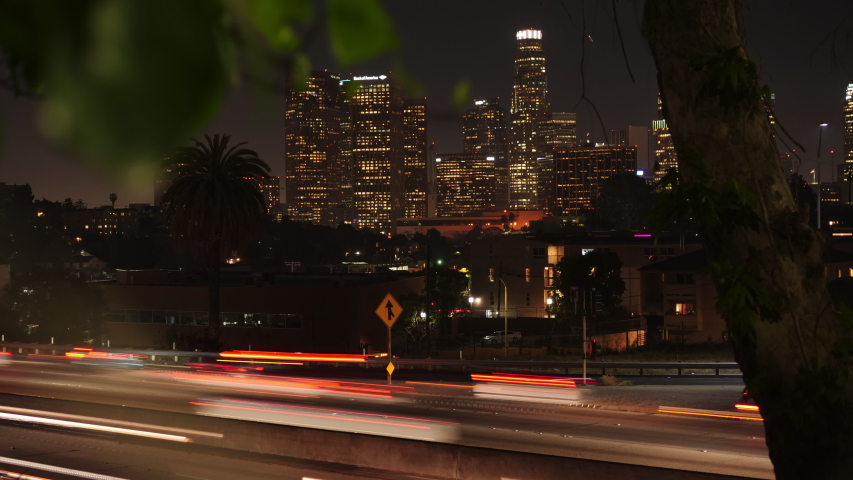Time lapse los angeles downtown by night with freeway may 2019 | Shutterstock HD Video #1030106030