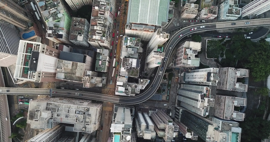 4K Aerial view of city, Drone stay on the sky and 90 degree point down and watching the traffic | Shutterstock HD Video #1030113470