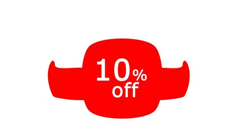 Sale 10% off discount banner in red, blue, green with waving wings on a white background