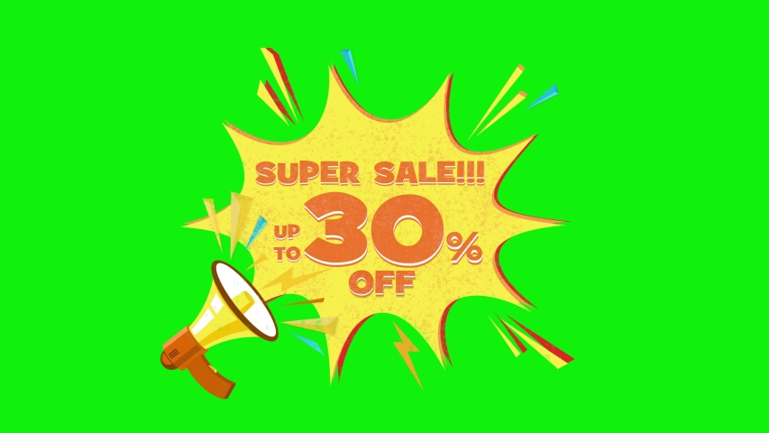 Super sale text up to 30% off megaphone flying 3d animation on green screen  | Shutterstock HD Video #1030133900