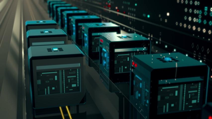 Digital cyberspace binary code. Transmit digital content visualization. 4K UHD video animation loop. | Shutterstock HD Video #1030182440