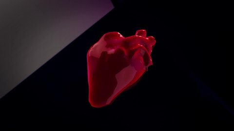 Realistic human heart, beating organ on different moving backgrounds, seamless loop. Animation. Red real shaped heart pulsating isolated on changing backgrounds.