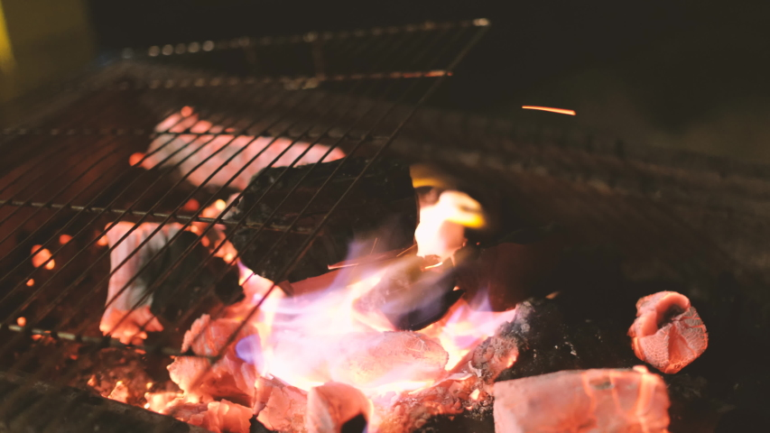 Glowing barbecue embers, fire charcoal in stove for cooking and grilling food or outdoors barbecue. Royalty high-quality free stock footage of embers burning with red and yellow flame   Shutterstock HD Video #1030223330
