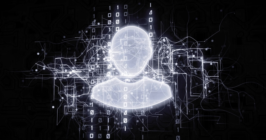 Male social profile in virtual cyberspace network with binary code, futuristic technological projection as 4k animation detail | Shutterstock HD Video #1030242380