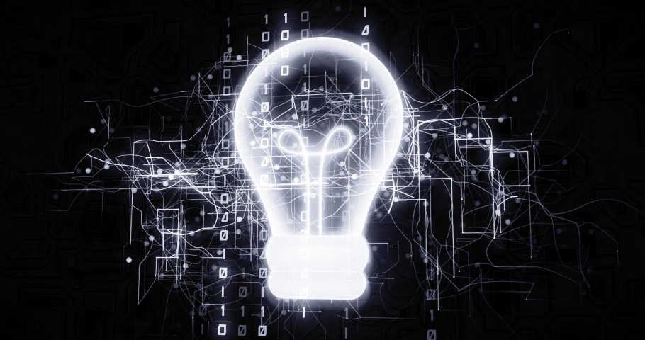 Innovative light bulb in virtual cyberspace network with binary code, futuristic technological projection as 4k animation detail | Shutterstock HD Video #1030242410