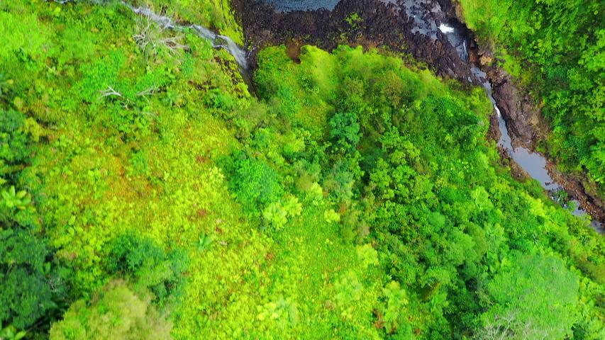 Aerial Drone - Scenic Akaka Tropical Jungle Waterfalls - Big Island Hawaii | Shutterstock HD Video #1030365350