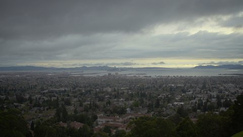View of the landscape of the Bay Area of San Francisco on a cloudy day at sunset. Shot on a Canon C200 in 4K in San Francisco in 2019.