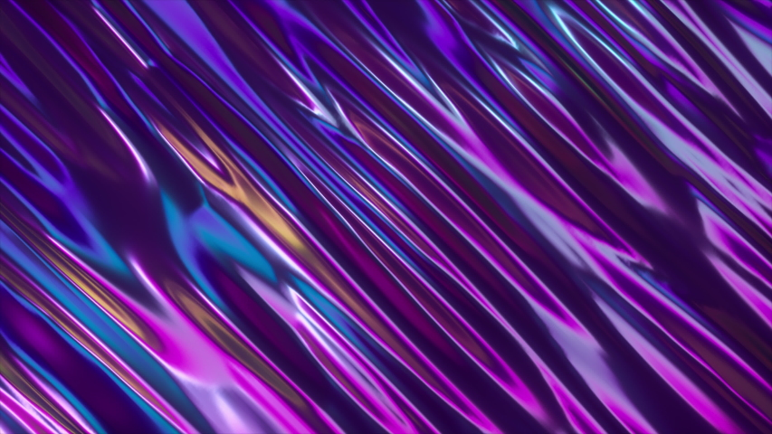 Abstract 3d render holographic oil surface background, foil wavy surface, wave and ripples, ultraviolet modern light, neon blue pink spectrum colors. Seamless loop 4k animation | Shutterstock HD Video #1030426040