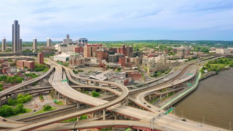 ALBANY, NY - MAY 25, 2019: Drone footage of Albany, New York downtown, with pull back camera motion. Albany is the capital city of the U.S. state of New York and the county seat of Albany County