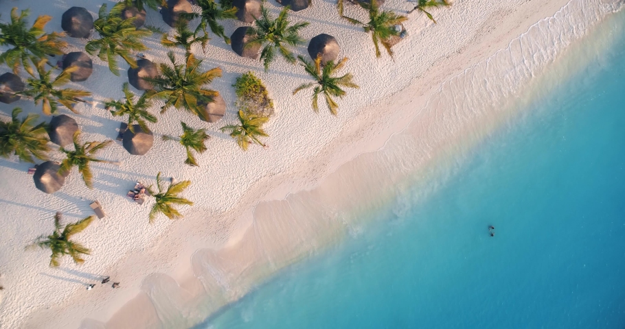 Aerial view of sea waves, umbrellas, green palms on the sandy beach at sunset. Summer in Zanzibar, Africa. Tropical landscape with palm trees, people, parasols, sand, blue water. Top view from air   Shutterstock HD Video #1030586510