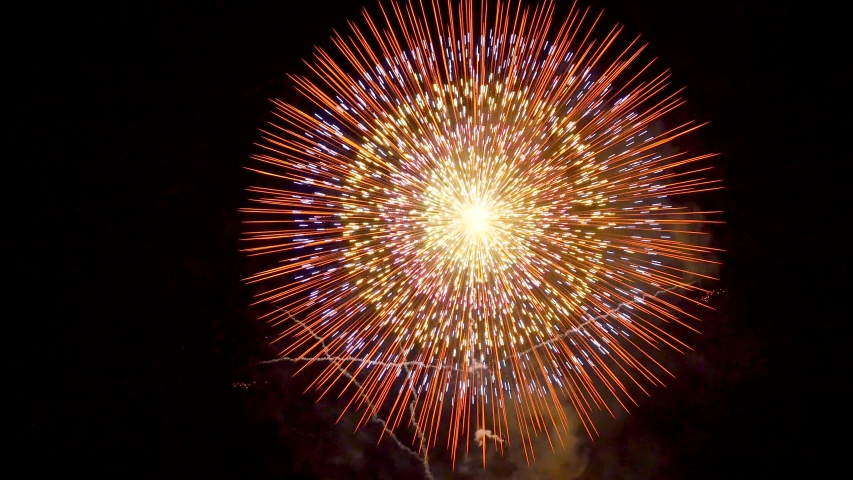 The fireworks in the night sky | Shutterstock HD Video #1030601750
