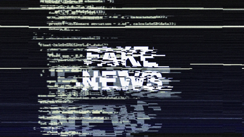 FAKE NEWS Glitch Text Animation Background, Loop, 4k  #1030672070