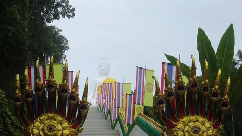 The large white Buddha statue, Luang Pho Than Chai, Wat Phu Thong, Thep Nimit, Udon Thani