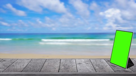 4K.UHD 3840x2160P- Wood Table Top Texture For Products Hear Present And Digital Display On Table. On The Beach Blur Sea Background In The Summer.
