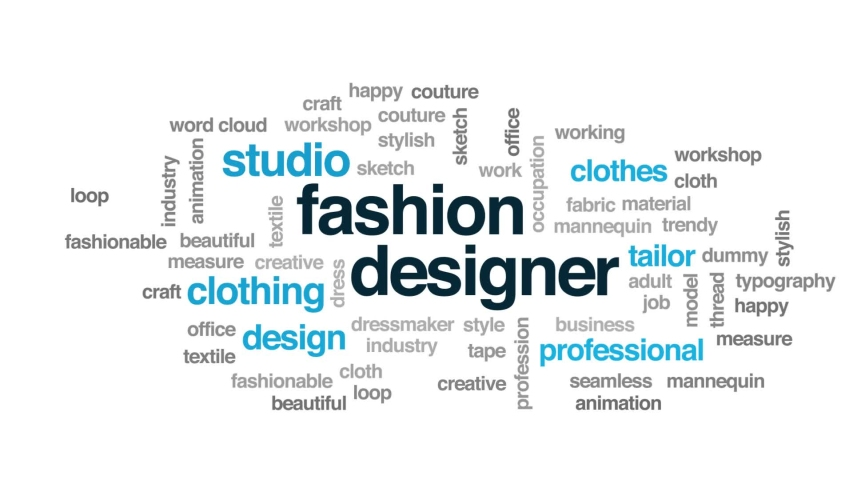 Fashion designer animated word cloud. Kinetic typography. | Shutterstock HD Video #1030744910