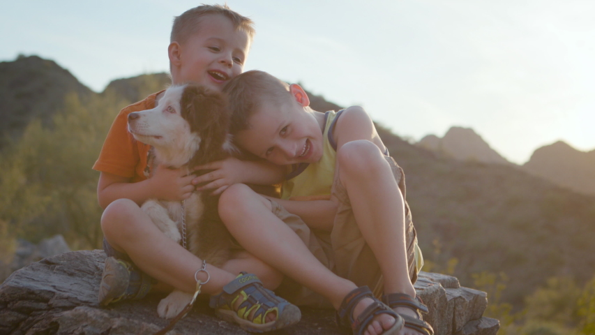 Two young boys hug their puppy outside at sunset. Shot on a Canon C200 in 4K in Phoenix, Arizona in 2019. | Shutterstock HD Video #1030815410