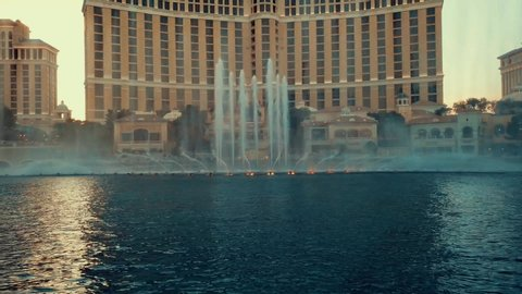 Las Vegas, Nevada / United States - 09 08 2018: Las Vegas, USA - Circa 2018. Bellagio fountain show.