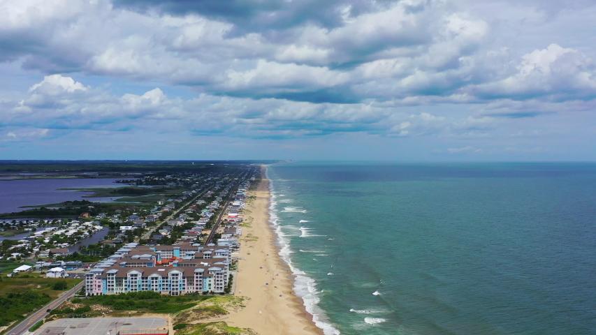 Virginia Beach aerial drone shot of the beach