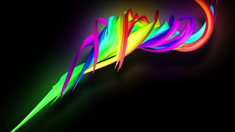 3d animation stream of colored ribbons fly on black background with neon light. Rainbow gradient on the flow of stripes. Luma matte is included as alpha channel. 4k motion graphics with copy space. 51