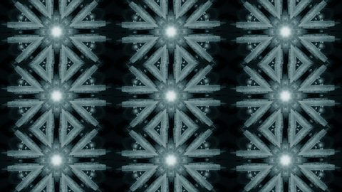Abstract animated kaleidoscope motion background. Sequence multicolored graphics ornaments patterns. Bright luminous light backdrop. Soft blue and white seamless loop background. Looping backdrop