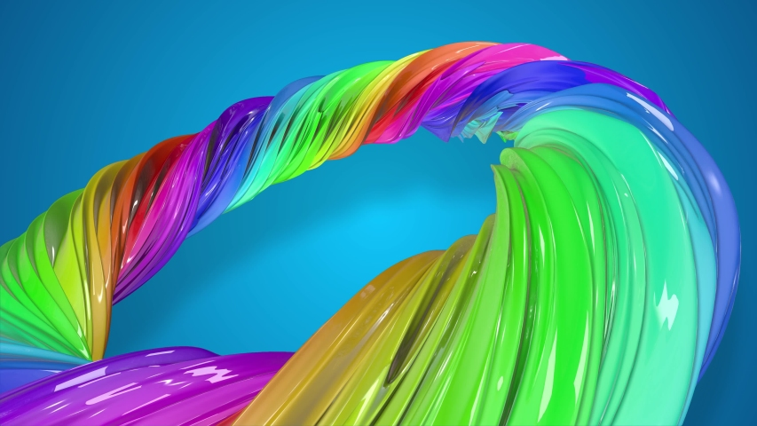 Paint flow moves in a circle. Abstract colorful creative background with stream of mixed oil paints that form a ribbon of rainbow colors. looped 3d animation in 4k with luma matte as alpha channel. 10 | Shutterstock HD Video #1031062700