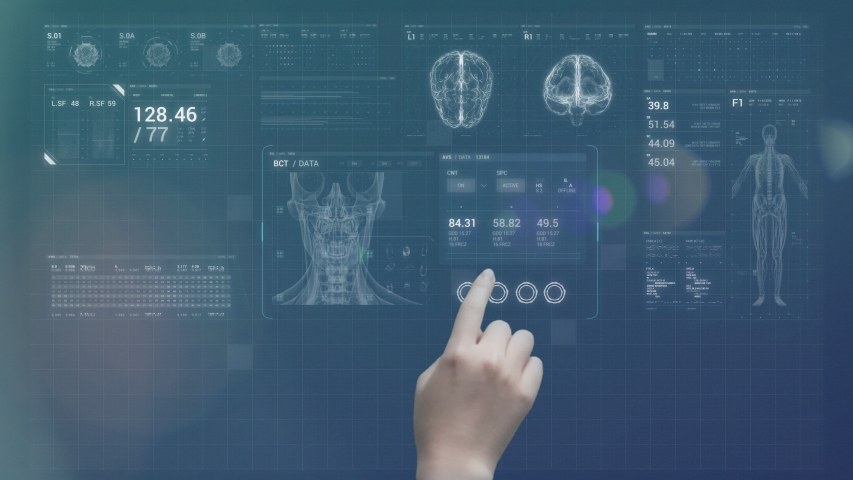 Futuristic doctor's hand touch screen augmented reality medical charts. 4K