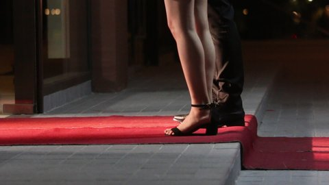 Low angle view of people arriving at a formal event and walking a red carpet as they enter. Women in heels and dresses. Celebrities walk the red carpet. Movie stars arrive for a premier.