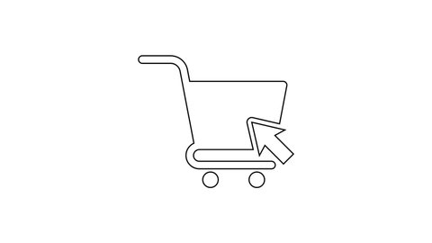 Black Shopping cart with cursor line icon on white background. Online buying concept. Delivery service sign. Supermarket basket symbol. 4K Video motion graphic animation