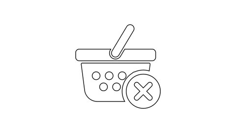 Black Remove shopping basket line icon on white background. Online buying concept. Delivery service sign. Supermarket basket and X mark. 4K Video motion graphic animation