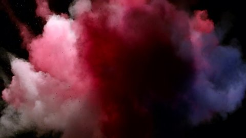 Color powder explosion on black background.