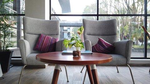 Manado, North Sulawesi / Indonesia - April 21st, 2019:  S-Loft Hotel Lobby, Interior Design